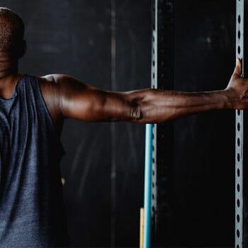 Man doing a biceps stretch