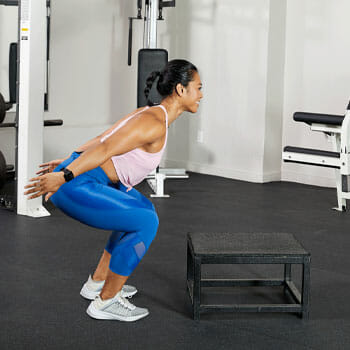 woman about to box jump