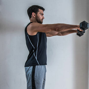 man doing front raises with a dumbbell