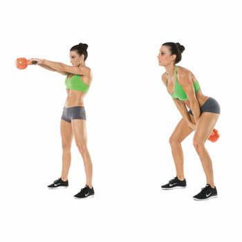 woman doing kettlebell swing with two hands