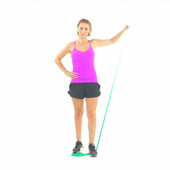 woman doing a single arm band lateral raise
