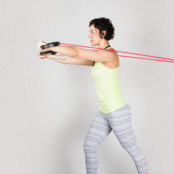 woman doing Resistance Band Crossover