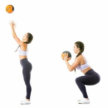 woma doing squad throw slamball workout