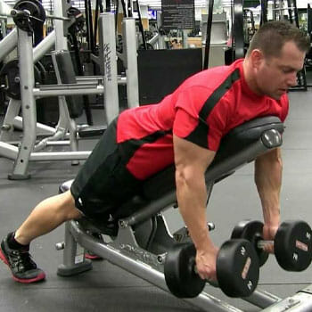 man doing Incline Dumbbell Rows