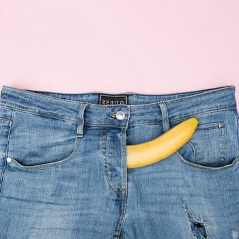jeans with banana inside