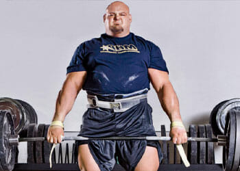 brian shaw working out with a deadlift