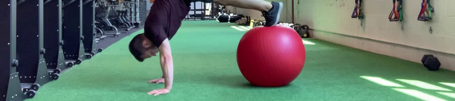 person doing a Physioball Jackknife exercise
