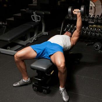 man doing Single-Arm Dumbbell Bench Press
