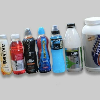 Different kinds sports drink brands in line
