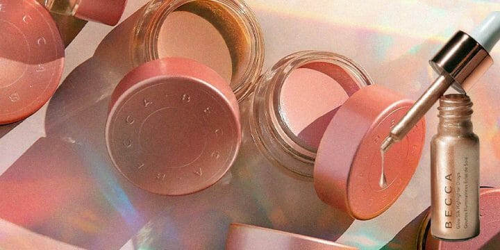 A closeup of a cosmetic brand products