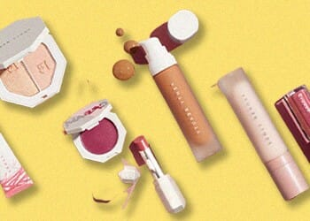A top view of a known brand's cosmetics