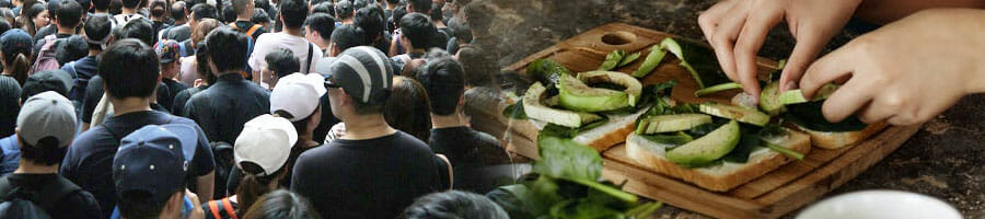 crowd of people, slicing greens