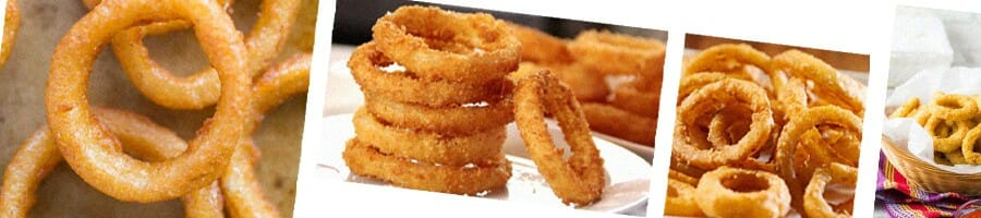 Collage of onion rings