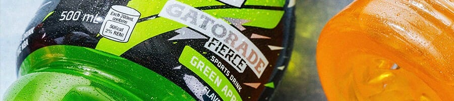 Close up shot of a sports drink brand