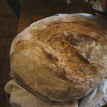 A top view of a sourdough bread