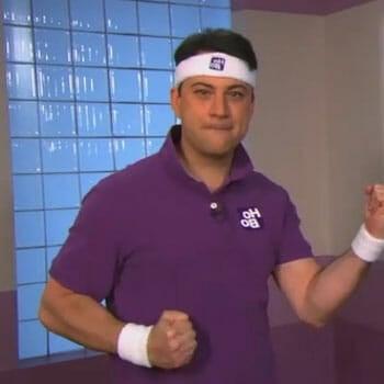 jimmy kimmel wearing a purple shirt and headband