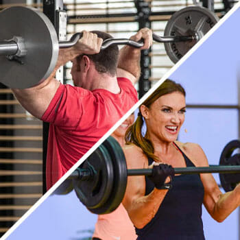 man using a cambered bar and a woman using a straight bar