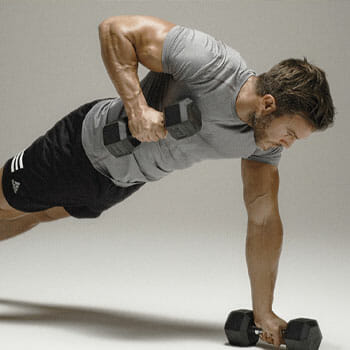 man in a plank row position