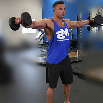 man in a side lateral raise position