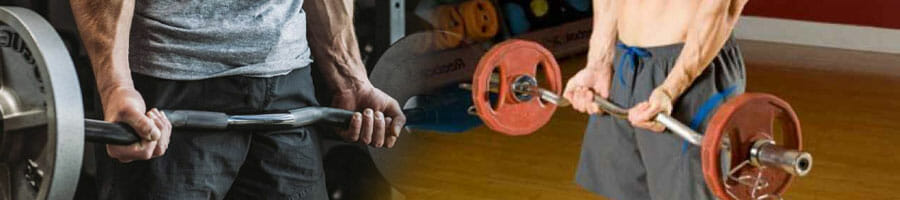 men in gym doing barbell curls