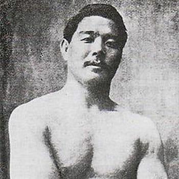 vintage image of a shirtless Mitsuyo Maeda