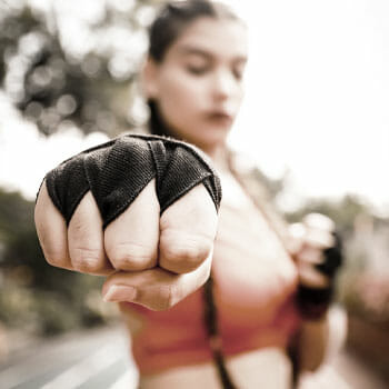woman in a boxing stance