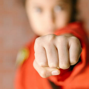 woman with her fist up