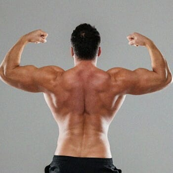 A person showing his back muscles