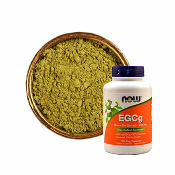 EGCq green tea extract container with a bowl of green powder