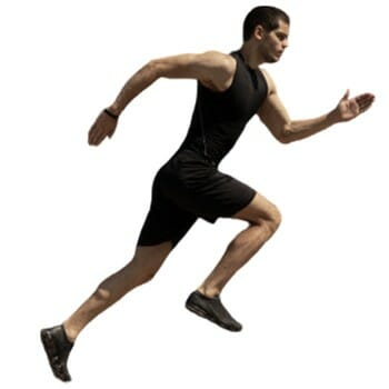 A guy running in motion