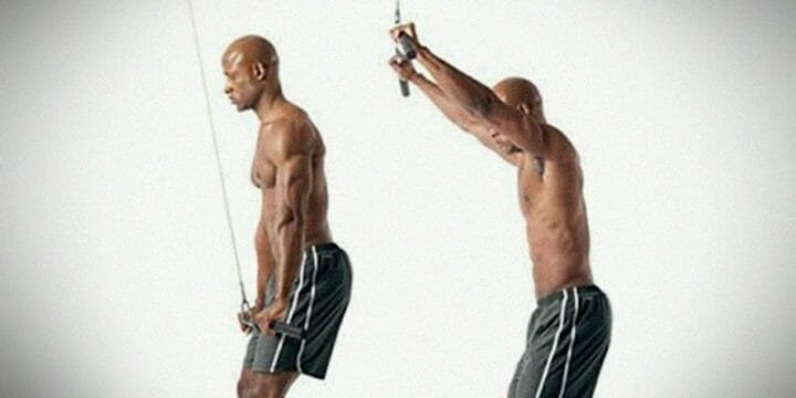 Man performing straight lat pulldown exercise