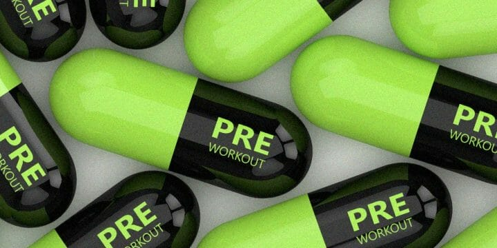 3D rendered pre-workout pills on a table