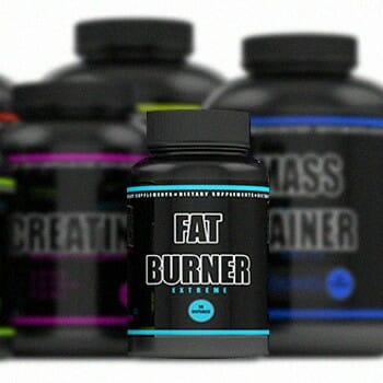 Fat burner in front of different workout supplements
