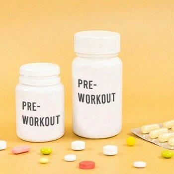 Pre workout supplements inside a bottle