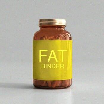 A bottle of Fat binder supplement