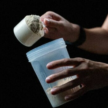 Pouring creatine inside a contrainer