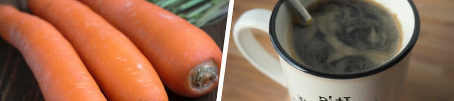 3 pieces of fresh carrots, cup filled with black coffee