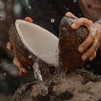 sliced coconut juice coming out