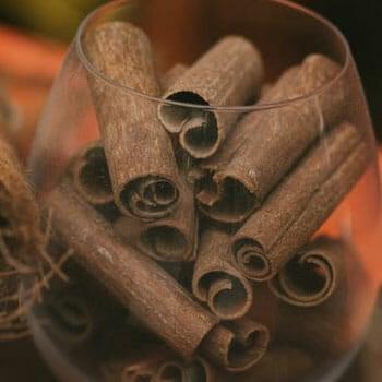 fresh cinnamon in a glass jar