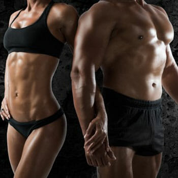male and female body shot of their lean bodies
