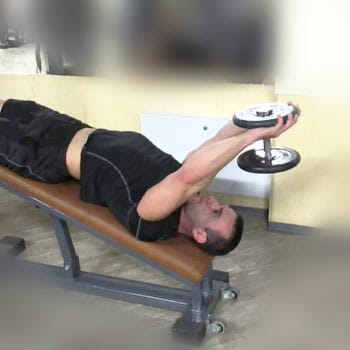 man in a decline dumbbell pullover position