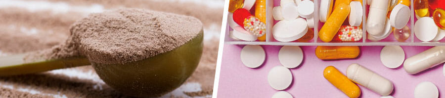 spoonful of chocolate protein powder, a medicine kit with different pills