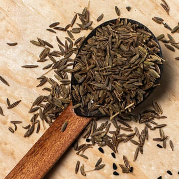 cumin seeds on a spoon