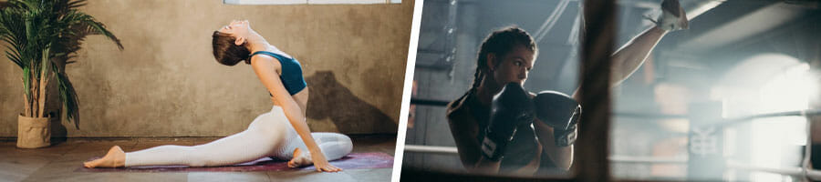 woman practicing yoga at home, woman training boxing at a gym
