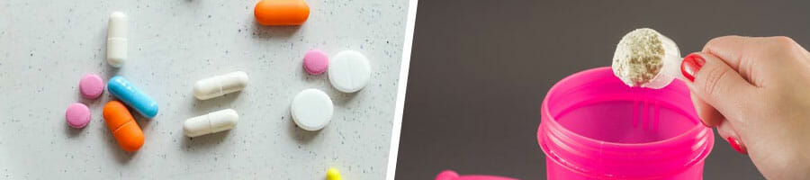 medicine pills scattered, scooping out powder in a pink water jug