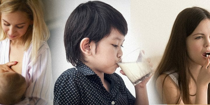 A mother breastfeeding an infant; An Asian boy drinking milk, A teenager taking a vitamin