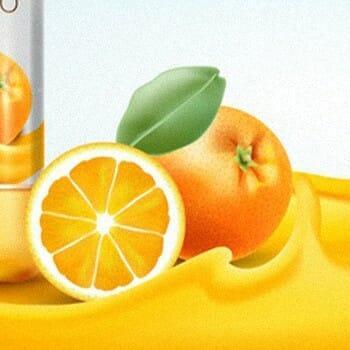 Sliced orange on a white background