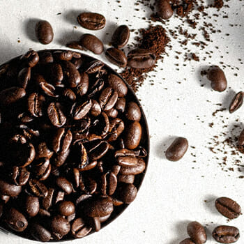 Top view of coffee beans