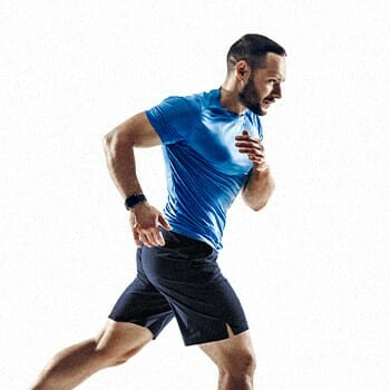 A man in a blue shirt running