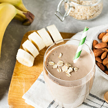 Creamy chocolate banana top view